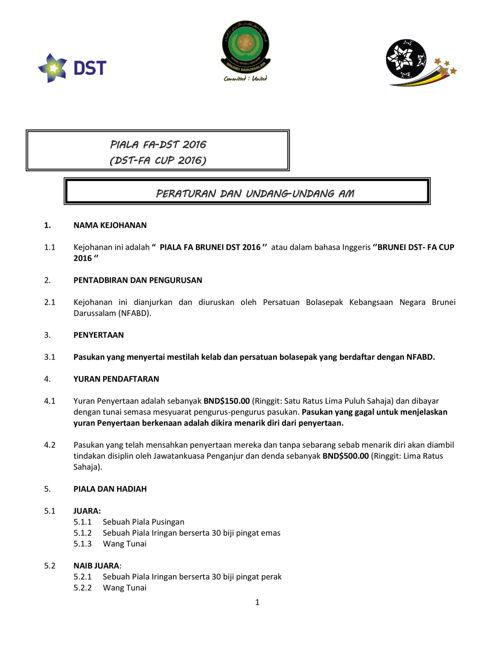 DST FA 2016 Rules & Regulation
