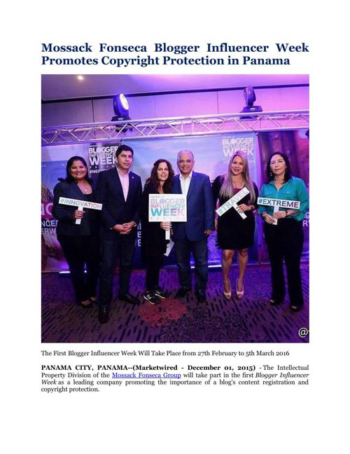 Mossack Fonseca Blogger Influencer Week Promotes Copyright Prote