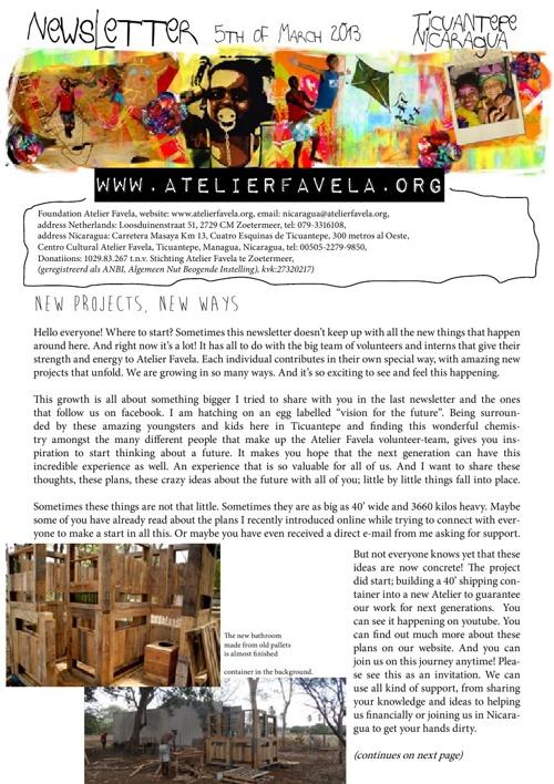 Newsletter Atelier Favela - March