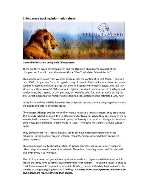Premier Safaris Chimpanzee tracking information sheet