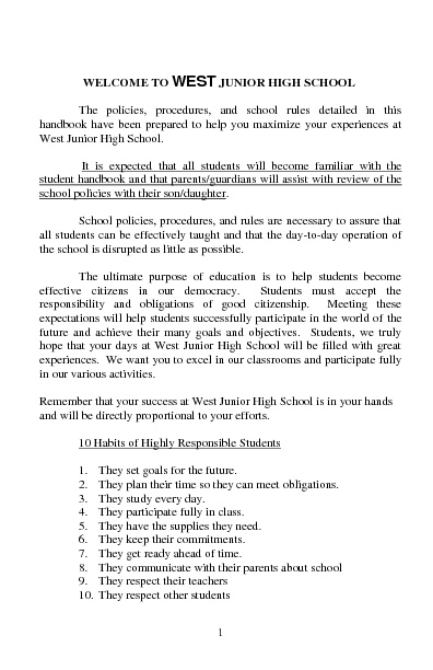 WJHS Student Handbook