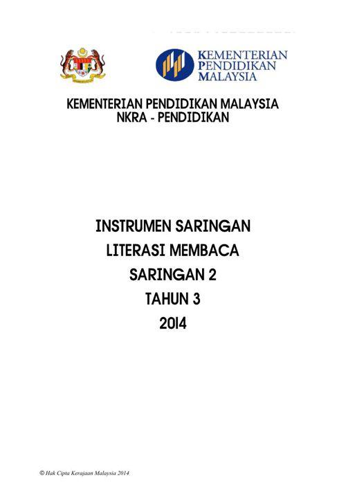 INSTRUMEN LITERASI MEMBACA SARINGAN 2_TAHUN 3 2014