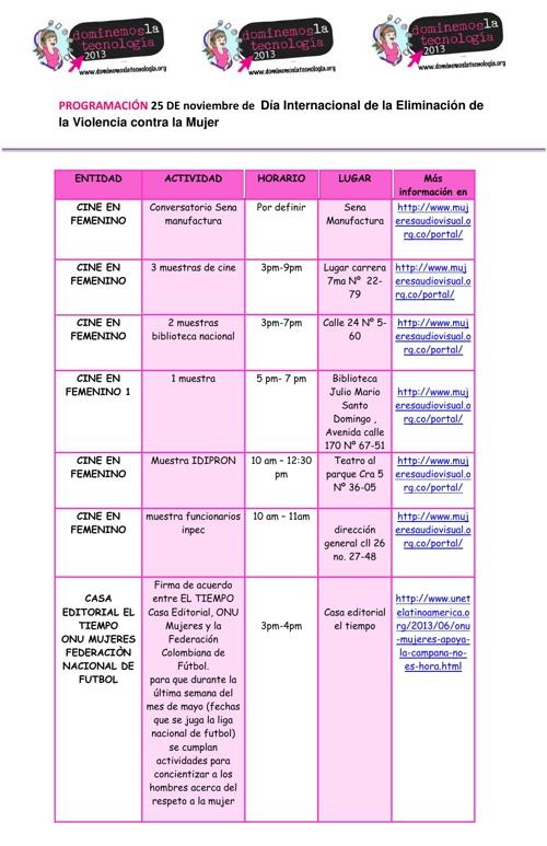 PROGRAMACIÓN AGENDA 16 DIAS DE ACTIVISMO DEL 25-29 DE NOVIEMBRE