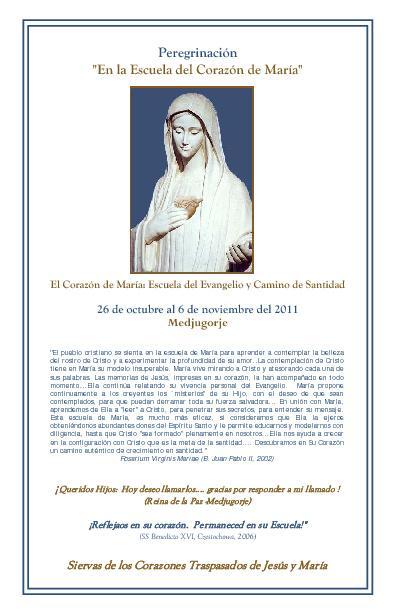 """Peregrinación """"En la Escuela del Corazón de María"""""""