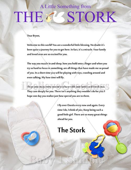 Stork Letter Samples