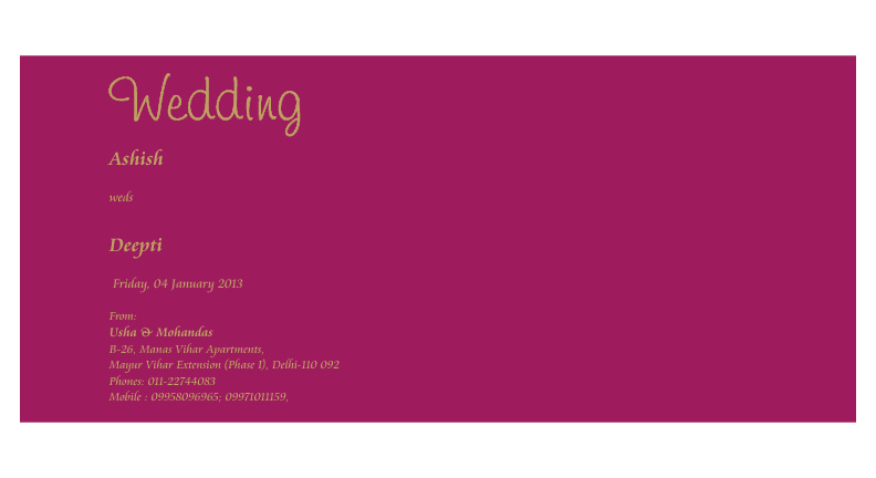 Wedding Invitation : Ashish Weds Deepti