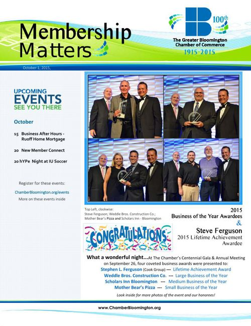 Membership Matters! October 1 2015 Edition