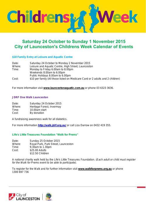 Children's Week 2015 - Calendar of Events