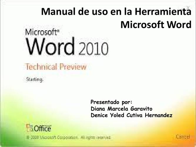 MANUAL DE USO DE HERRAMIENTAS DE MICROSOFT WORD