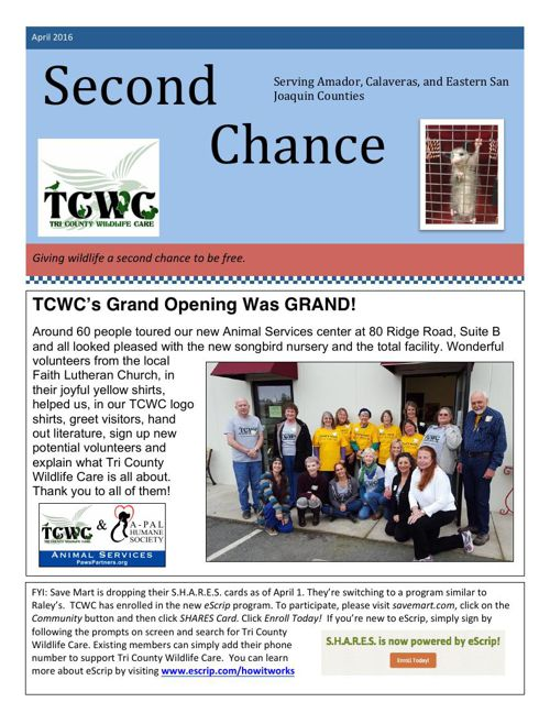Second Chance Newsletter, April 2016