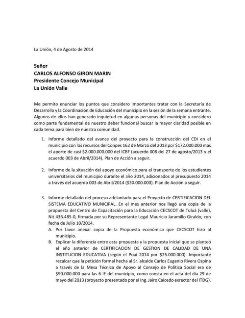 CITACION SEC DESARROLLO AGOSTO 2014