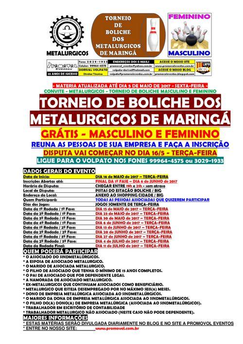 BOLICHE - CARTAZ DE CONVITE - DIA 5-MAIO-2017