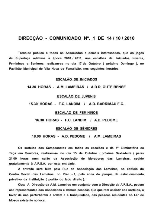COMUNICADOS - DIRECÇAO