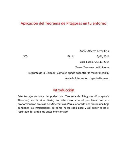 Teorema de Pítagoras pdf