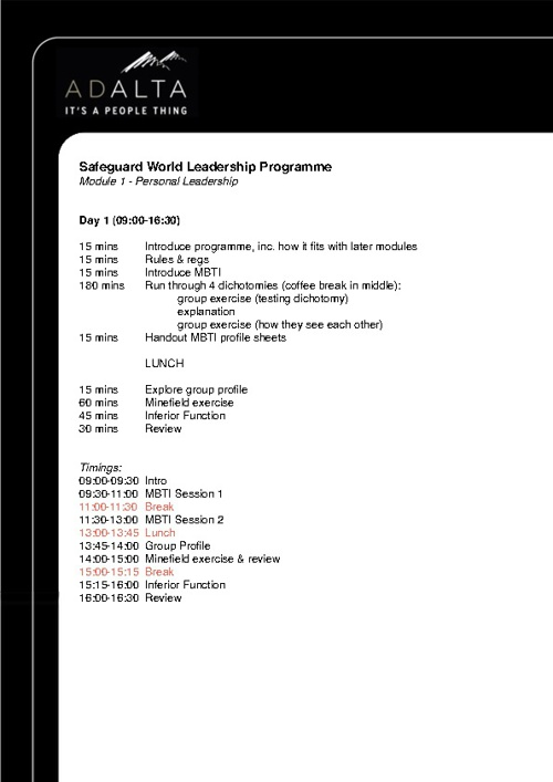 Safeguard Timetable