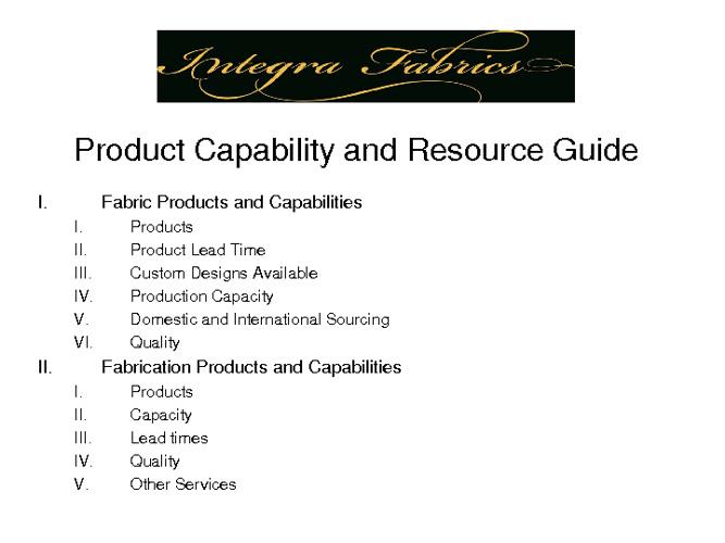 Integra Fabrics Product Capabilities