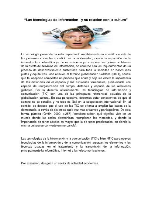 TECNOLOGIA DE INFORMACION Y SU RELACION CON LA CULTURA