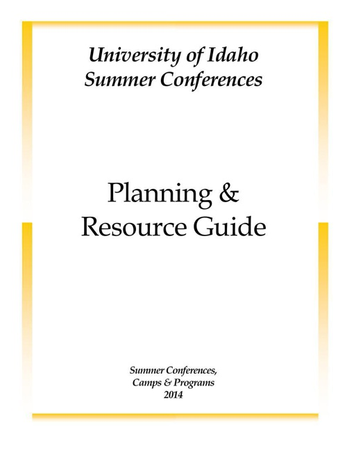 Summer Conferences 2014 Planning and Resource Guide