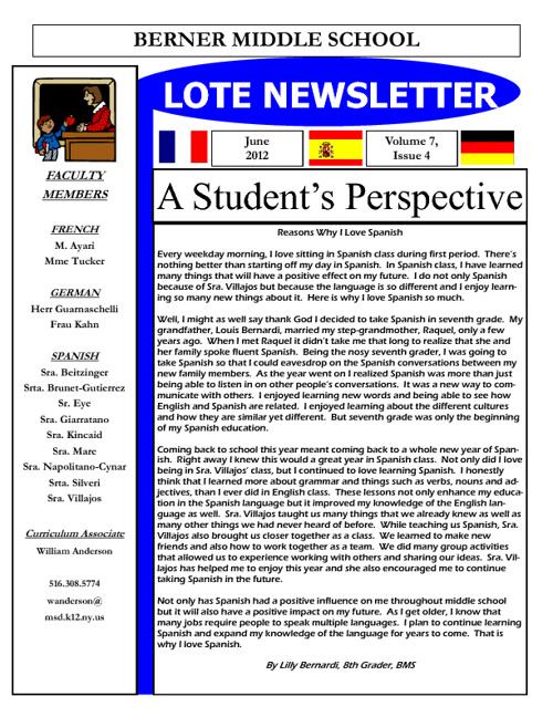 Berner LOTE Newsletter June 2012
