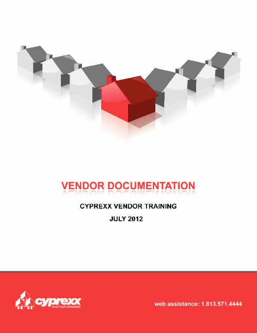Vendor Training Document - 8-13-2012