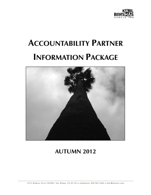 Accountability Partner Information Package Autumn 2012