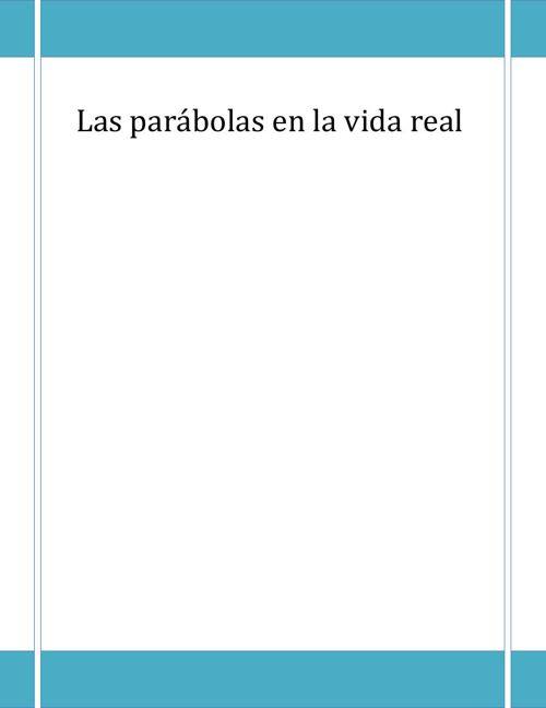 Las parábolas en la vida real