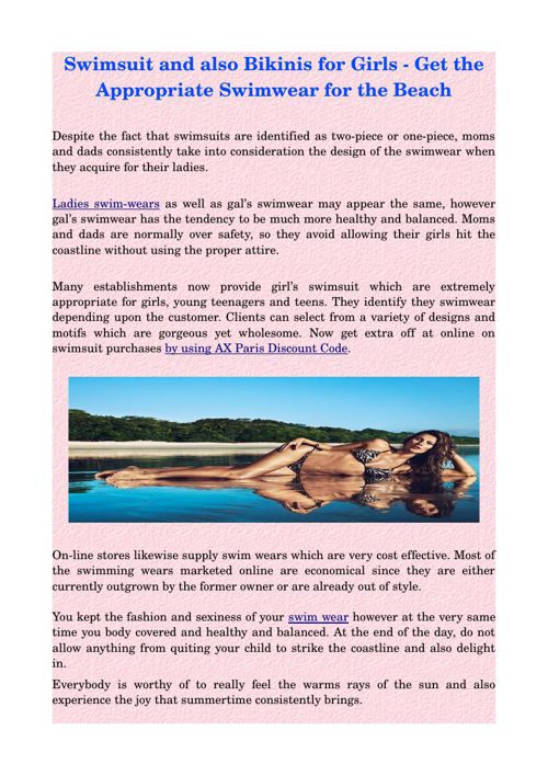 Swimsuit and also Bikinis for Girls - Get the Appropriate Swimwe