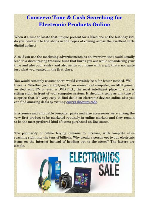 Conserve Time & Cash Searching for Electronic Products Online