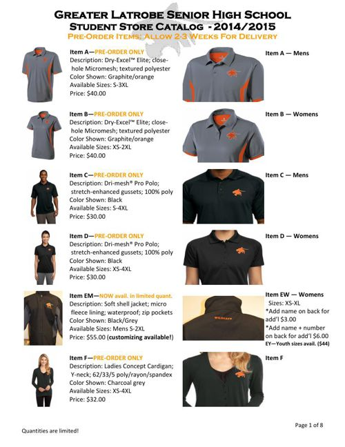Student Store PREORDER Clothing Catalog 14-15