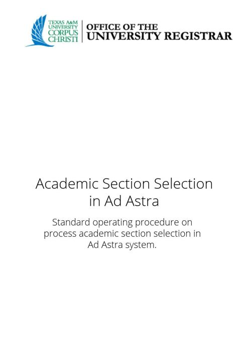 Academic Section Selection