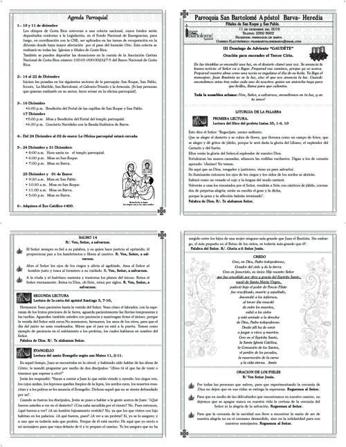 Boletín III Domingo de Adviento, Gaudete