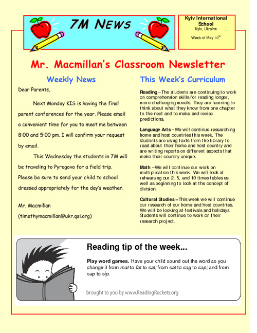 Newsletters for Week of May 10th