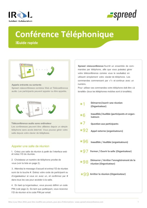 spreed visioconférence guide rapide