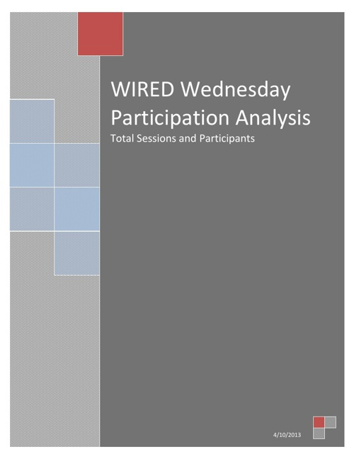 WIRED Wednesday Total Sessions and Participants 2012-2013