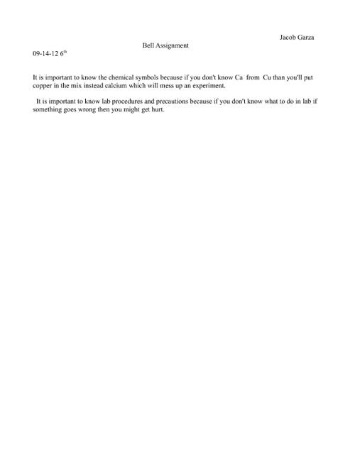 Bell Assignment 9-14