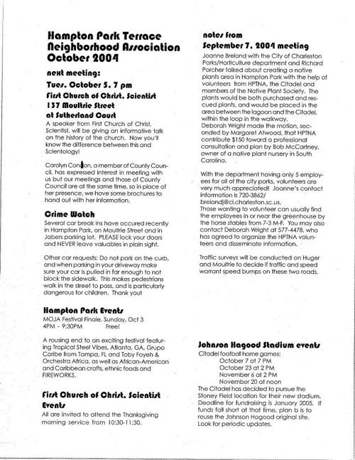 HPT Newsletter October 2004