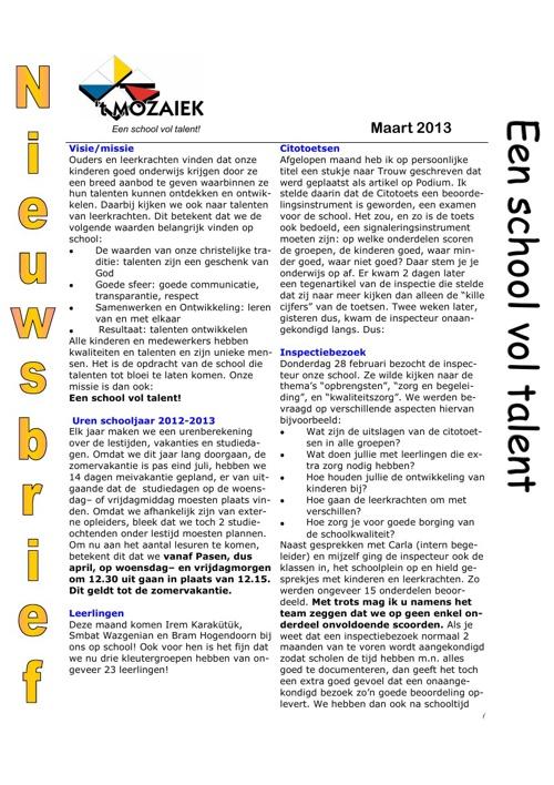 nieuwsbrief maart 2013