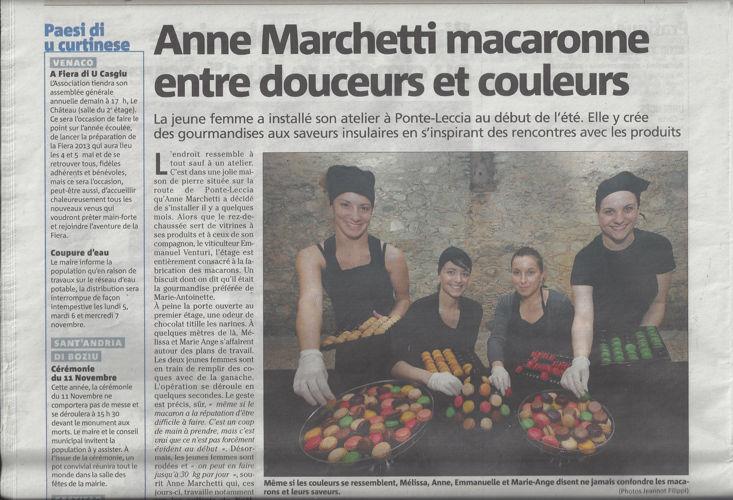 Corse Matin 2 novembre 2012 - Anne Marchetti macaronne entre dou