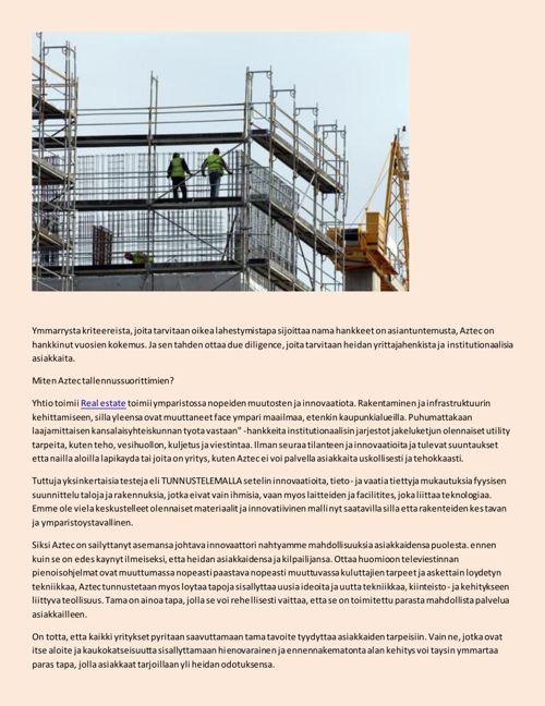 Aztec Group Inc - Aktiivisesti tarjoilua rakennusalalla innovaat