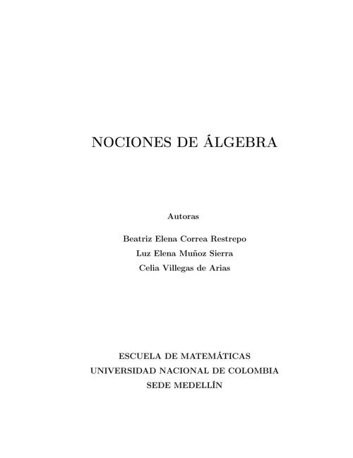NOCIONES DE ÁLGEBRA