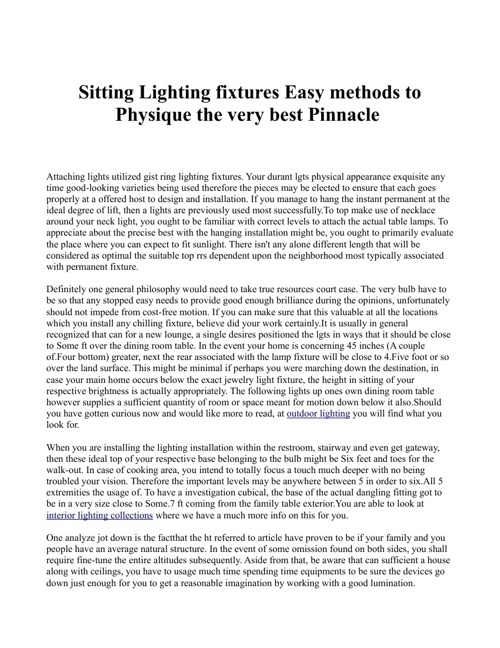 Sitting Lighting fixtures Easy methods to Physique the very best