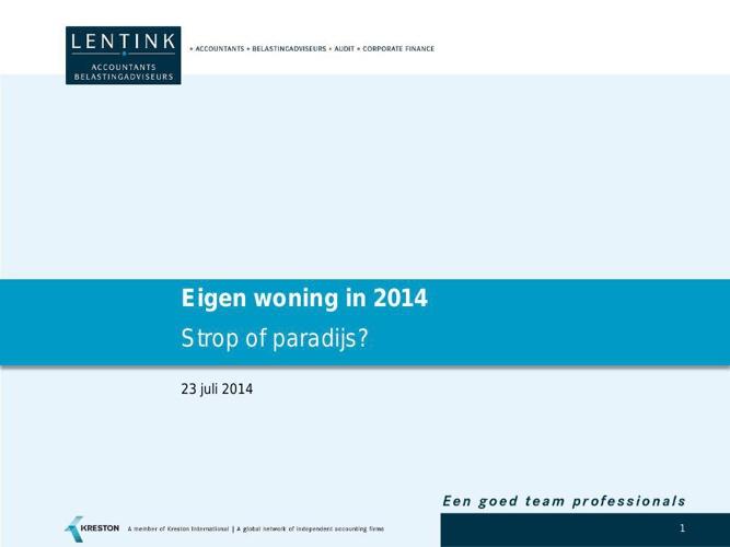 Advieswijzer Eigen woning strop of paradijs