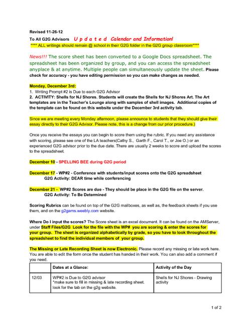 G2G - Updated Information 11-26-12