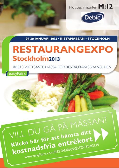 E-biljett RESTAURANGEXPO Stockholm 2013 - Debic