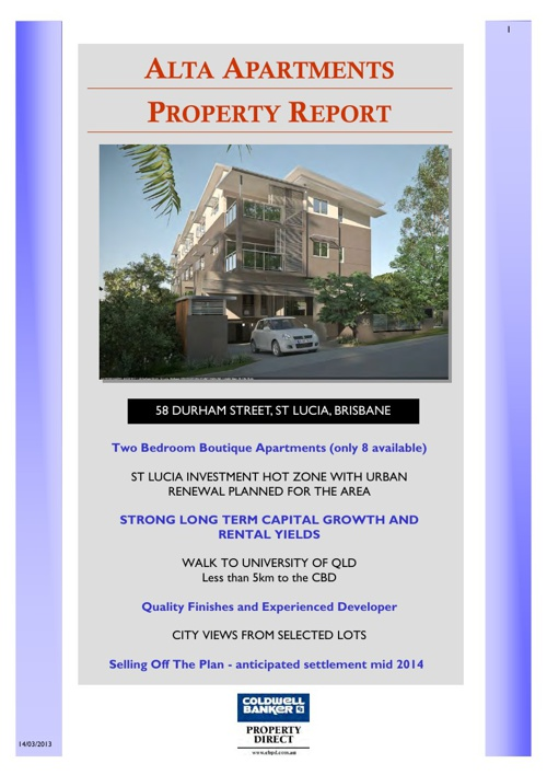 Alta Apartments Property Report FLIPBOOK