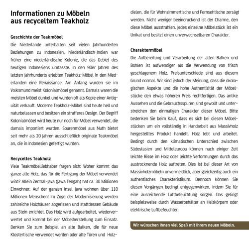 Pflege Teakholzmöbel | Teakmoebel.com