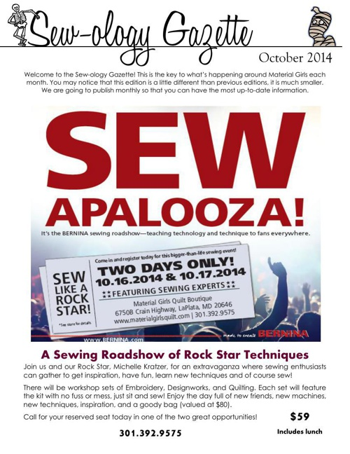 Material Girls October 2014 Sewology Gazette