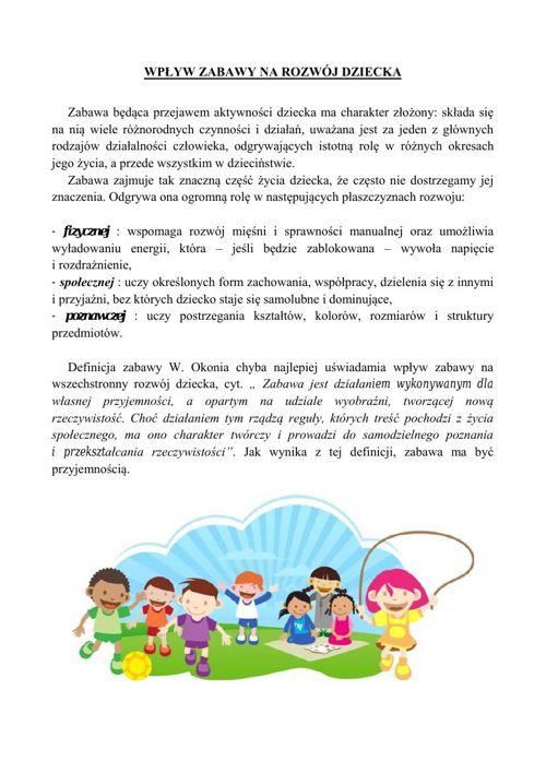 Wpływ zabawy na rozwój dziecka