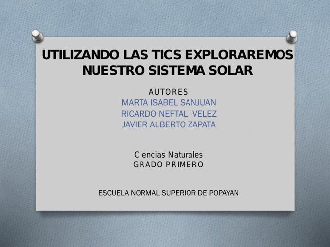 UTILIZANDO LAS TICS EXPLORAREMOS NUESTRO SISTEMA SOLAR