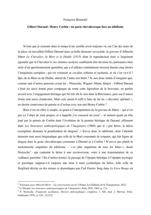 Gilbert Durand / Henry Corbin : un pacte chevaleresque face au n